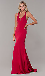 Image of long Dave and Johnny formal dress with deep v-neck. Style: DJ-A7113 Front Image