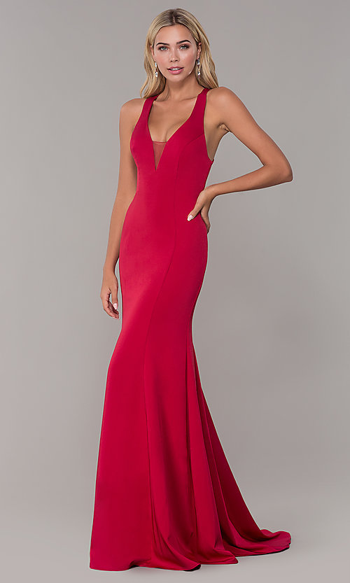 310c127fe144 Image of long Dave and Johnny formal dress with deep v-neck. Style: