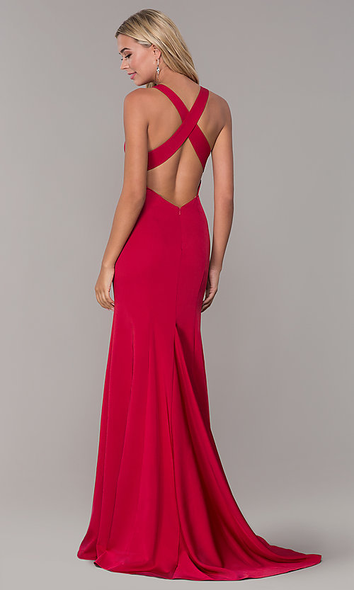 Image of long Dave and Johnny formal dress with deep v-neck. Style: DJ-A7113 Back Image