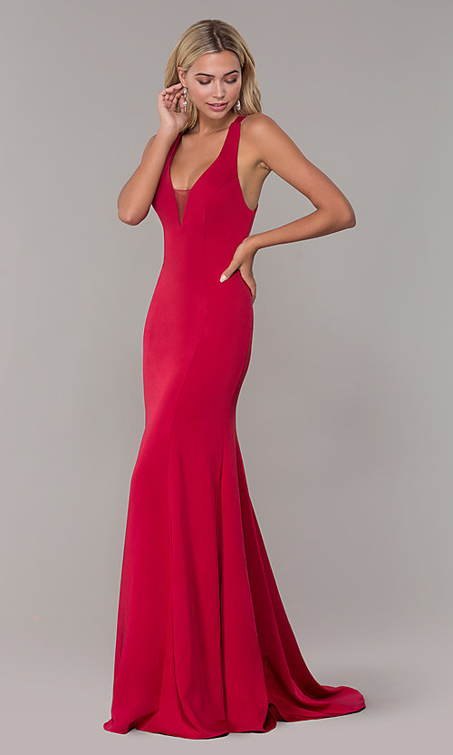 Image of long Dave and Johnny formal dress with deep v-neck. Style: DJ-A7113 Detail Image 3