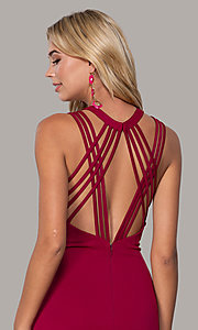 Image of high-neck open-back prom dress by Dave and Johnny. Style: DJ-A7289 Detail Image 2