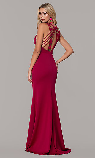 a82e435adc43 High-Neck Open-Back Prom Dress by Dave and Johnny