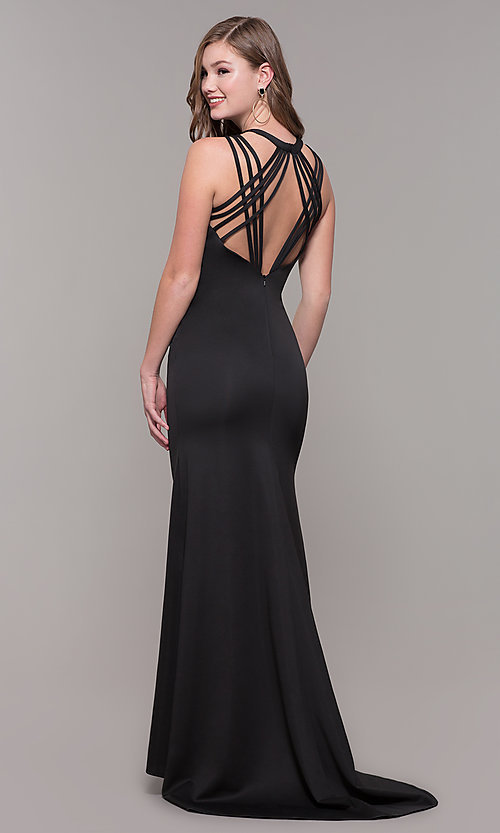 Image of high-neck open-back prom dress by Dave and Johnny. Style: DJ-A7289 Detail Image 5