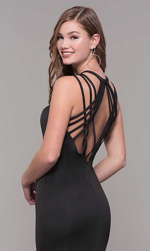 Image of high-neck open-back prom dress by Dave and Johnny. Style: DJ-A7289 Detail Image 7