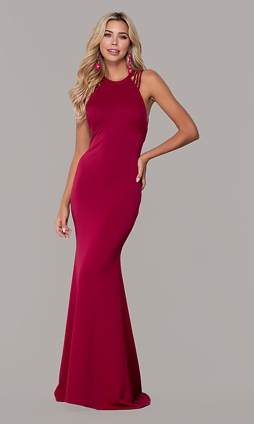 Image of high-neck open-back prom dress by Dave and Johnny. Style: DJ-A7289 Front Image