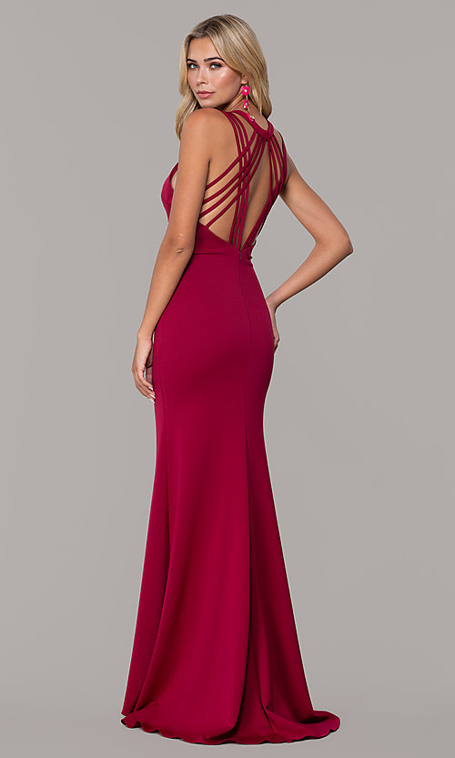 Image of high-neck open-back prom dress by Dave and Johnny. Style: DJ-A7289 Back Image