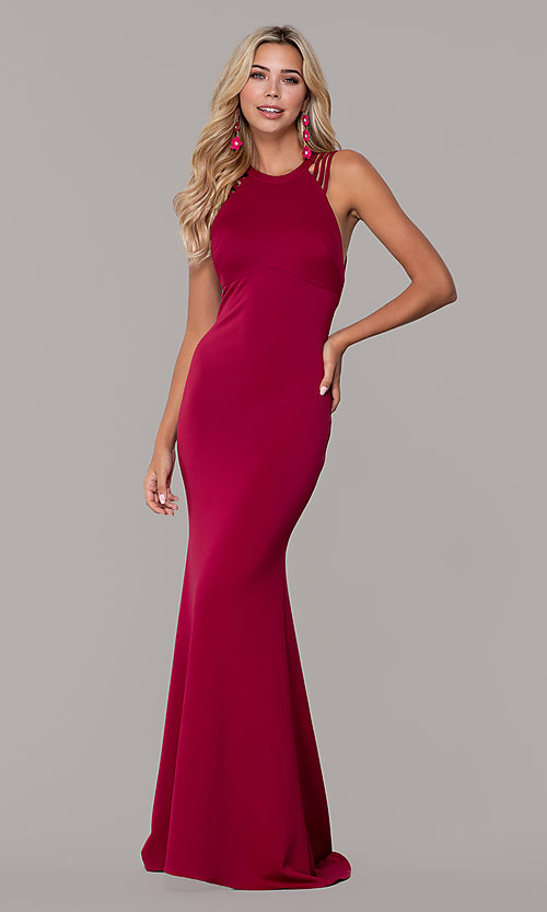 Image of high-neck open-back prom dress by Dave and Johnny. Style: DJ-A7289 Detail Image 3