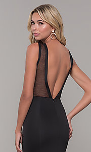 Image of illusion-neck long black Dave and Johnny formal dress. Style: DJ-3970 Detail Image 2