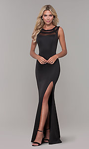 Image of illusion-neck long black Dave and Johnny formal dress. Style: DJ-3970 Detail Image 3