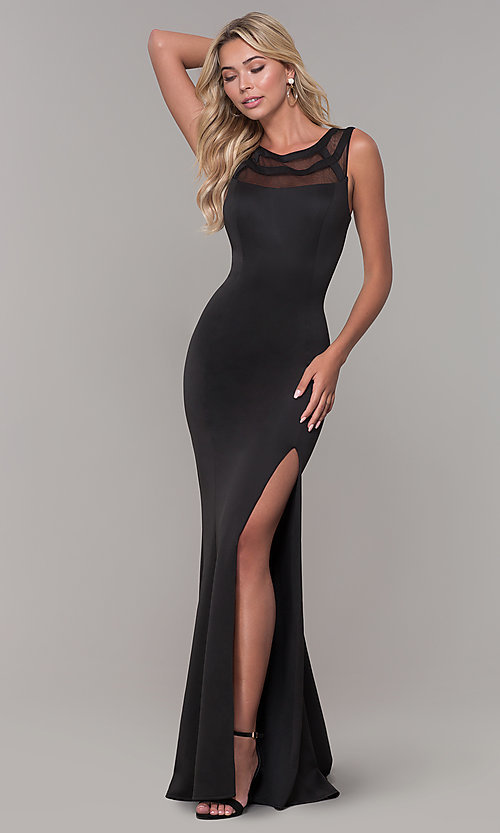 Image of illusion-neck long black Dave and Johnny formal dress. Style: DJ-3970 Front Image