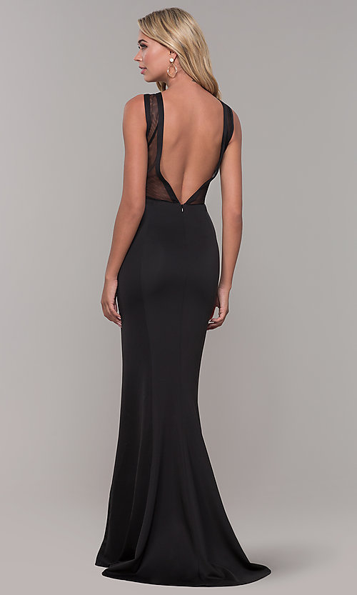 Image of illusion-neck long black Dave and Johnny formal dress. Style: DJ-3970 Back Image