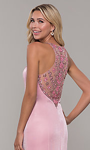 Image of sheer-beaded-back mauve long formal prom dress. Style: DJ-A7800 Detail Image 2