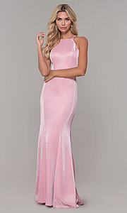 Image of sheer-beaded-back mauve long formal prom dress. Style: DJ-A7800 Detail Image 3