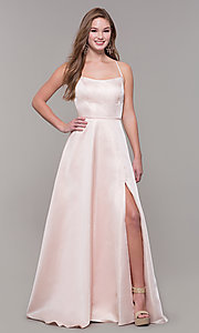 Image of Dave and Johnny long prom dress with corset back. Style: DJ-A7956 Detail Image 3
