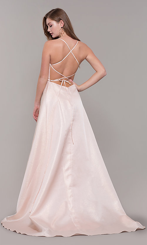 Image of Dave and Johnny long prom dress with corset back. Style: DJ-A7956 Back Image