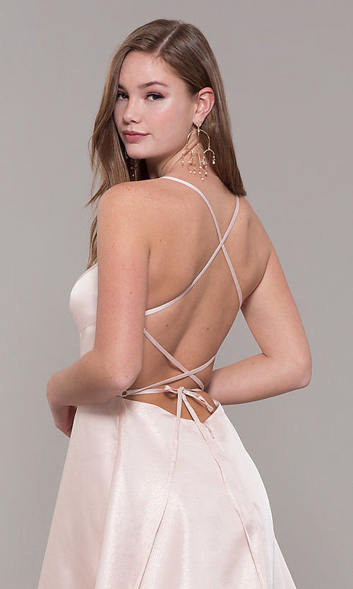 Image of Dave and Johnny long prom dress with corset back. Style: DJ-A7956 Detail Image 2