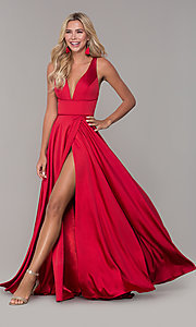 Image of low v-neck long red prom dress by Dave and Johnny. Style: DJ-A7454 Front Image