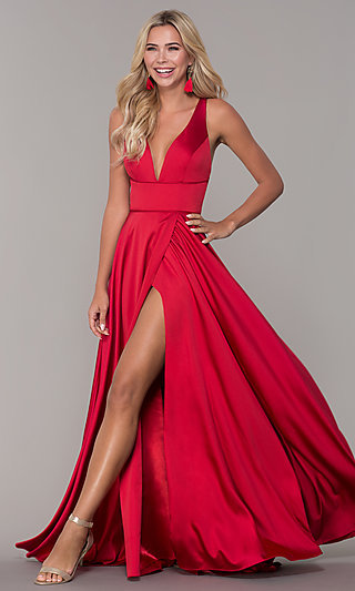 Low V-Neck Long Red Prom Dress by Dave and Johnny