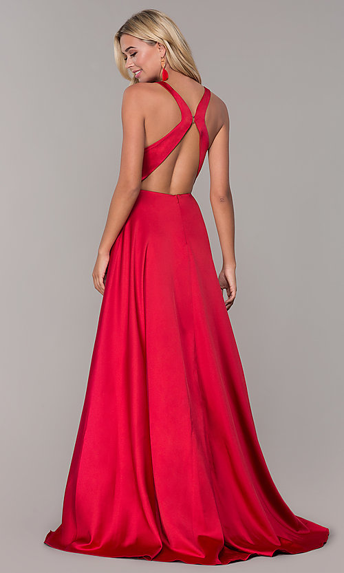 Image of low v-neck long red prom dress by Dave and Johnny. Style: DJ-A7454 Back Image