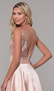 Image of Dave and Johnny v-neck long satin prom dress. Style: DJ-A7240 Detail Image 2