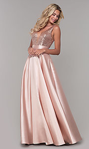 Image of Dave and Johnny v-neck long satin prom dress. Style: DJ-A7240 Detail Image 3
