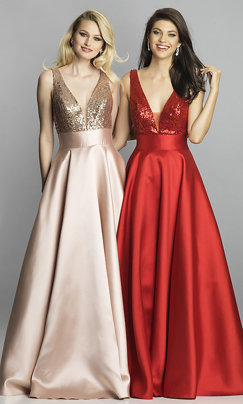 Image of Dave and Johnny v-neck long satin prom dress. Style: DJ-A7240 Front Image