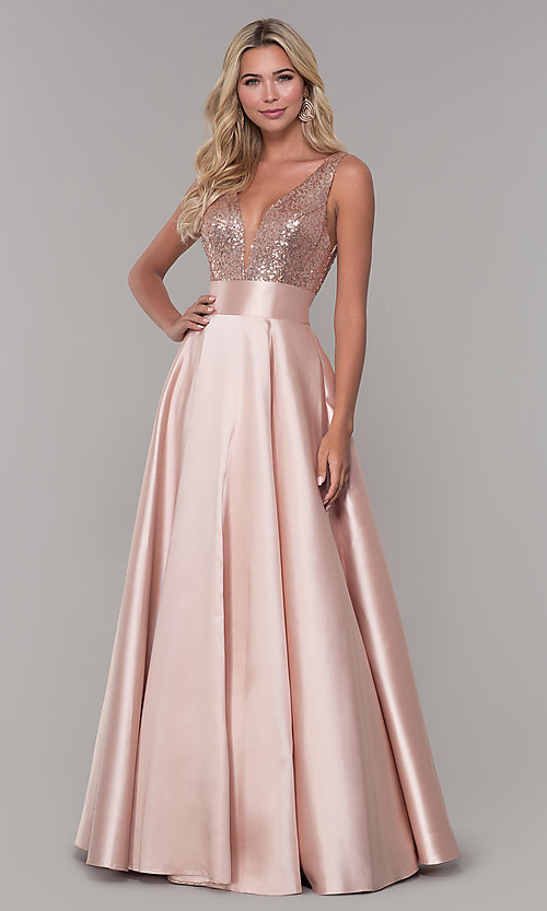 Image of Dave and Johnny v-neck long satin prom dress. Style: DJ-A7240 Detail Image 1