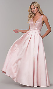 Image of long blush pink prom dress with sequin bodice. Style: DJ-A7420 Front Image