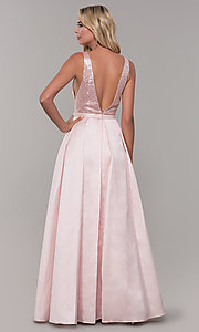 Image of long blush pink prom dress with sequin bodice. Style: DJ-A7420 Back Image