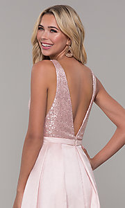Image of long blush pink prom dress with sequin bodice. Style: DJ-A7420 Detail Image 2