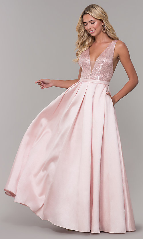Long Blush Pink Prom Dress with Sequin Bodice