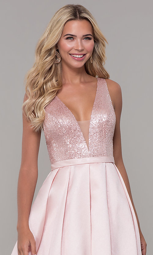Image of long blush pink prom dress with sequin bodice. Style: DJ-A7420 Detail Image 1