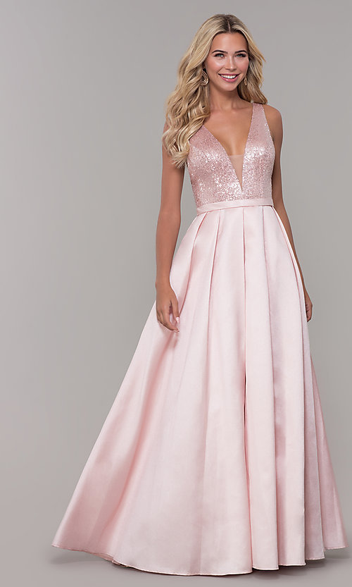 Image of long blush pink prom dress with sequin bodice. Style: DJ-A7420 Detail Image 3
