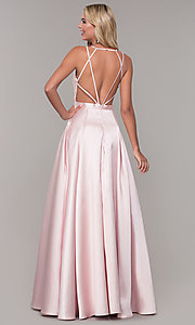 Image of Dave and Johnny long open-back prom dress. Style: DJ-A7156 Back Image