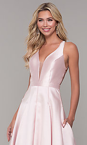 Image of Dave and Johnny long open-back prom dress. Style: DJ-A7156 Detail Image 1