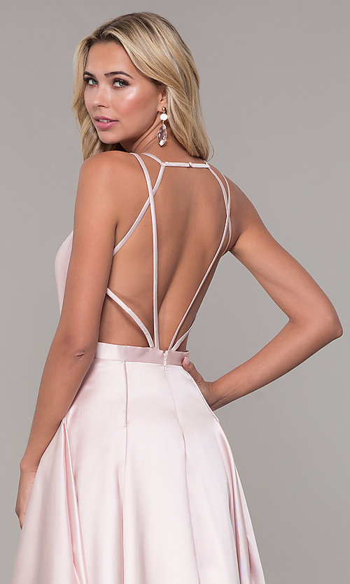 Image of Dave and Johnny long open-back prom dress. Style: DJ-A7156 Detail Image 2