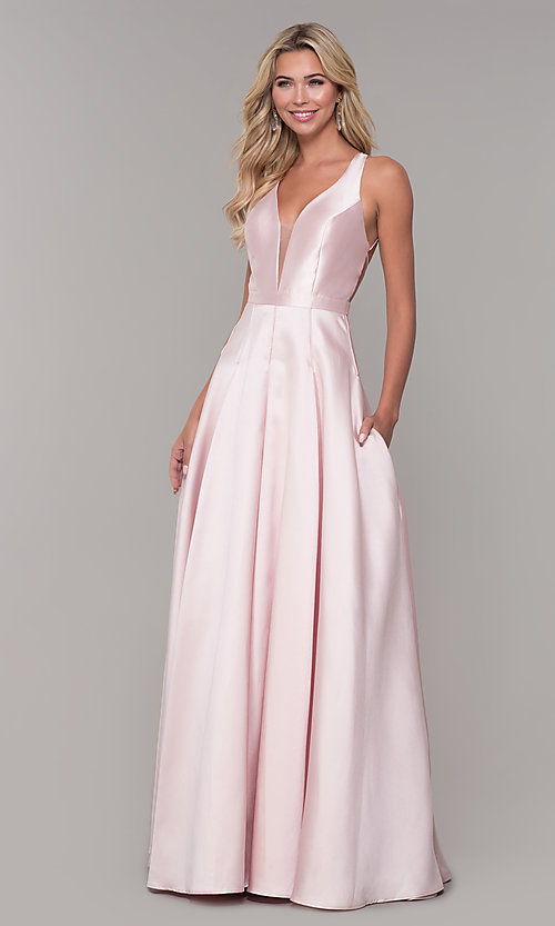 Image of Dave and Johnny long open-back prom dress. Style: DJ-A7156 Detail Image 3