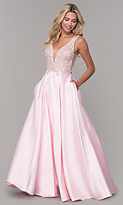 Image of pink long v-neck prom dress by Dave and Johnny. Style: DJ-A6885 Front Image