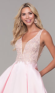 Image of pink long v-neck prom dress by Dave and Johnny. Style: DJ-A6885 Detail Image 1