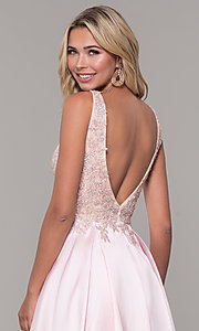 Image of pink long v-neck prom dress by Dave and Johnny. Style: DJ-A6885 Detail Image 2