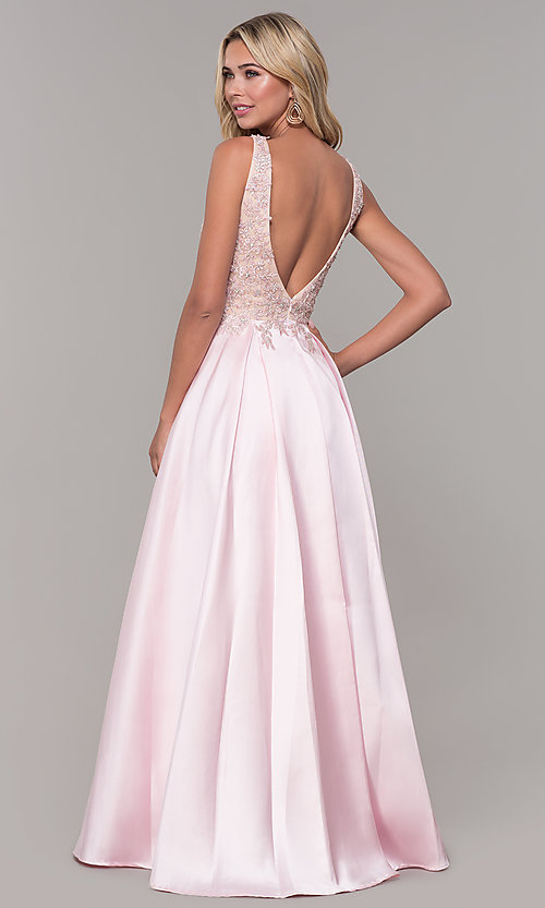 Image of pink long v-neck prom dress by Dave and Johnny. Style: DJ-A6885 Back Image