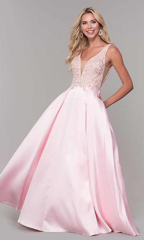 Image of pink long v-neck prom dress by Dave and Johnny. Style: DJ-A6885 Detail Image 3