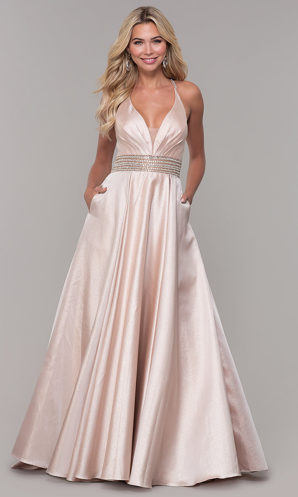 fa83451d585 Dave and Johnny Long V-Neck Prom Dress