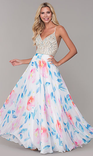 Long Dave and Johnny Floral Print Prom Dress