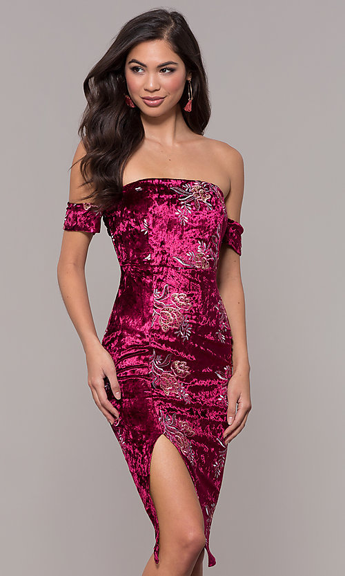 Image of velvet strapless short formal holiday party dress. Style: LT-LD50672Z Front Image