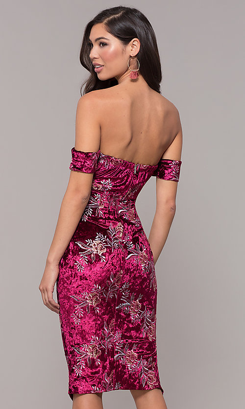 Image of velvet strapless short formal holiday party dress. Style: LT-LD50672Z Back Image