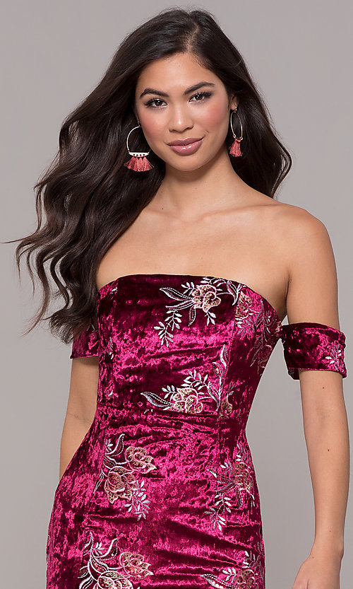 Image of velvet strapless short formal holiday party dress. Style: LT-LD50672Z Detail Image 1