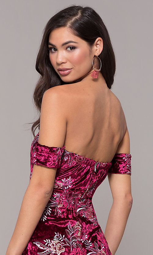 Image of velvet strapless short formal holiday party dress. Style: LT-LD50672Z Detail Image 2