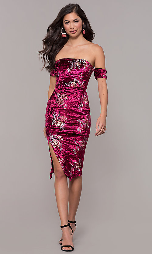 Image of velvet strapless short formal holiday party dress. Style: LT-LD50672Z Detail Image 3