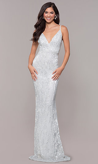 Long Formal Sequin V-Neck Dress